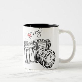 I coeur ma tasse de café noire et blanche