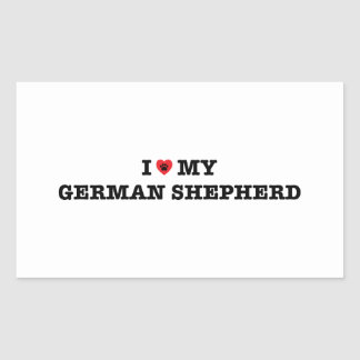 I coeur mon berger allemand sticker rectangulaire