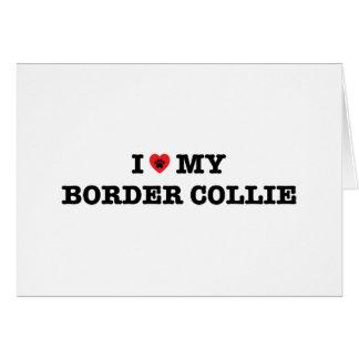 I coeur mon border collie carte de vœux