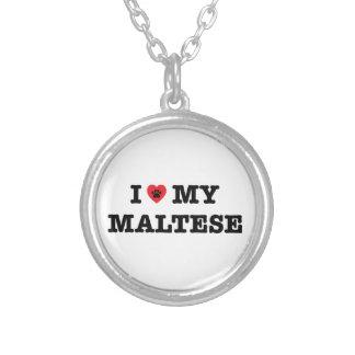 I coeur mon maltais pendentif rond