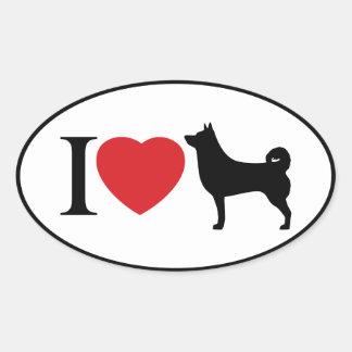 I coeur Shiba Inu - autocollant ovale