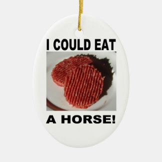 I could eat a horse - beef burgers ornement ovale en céramique