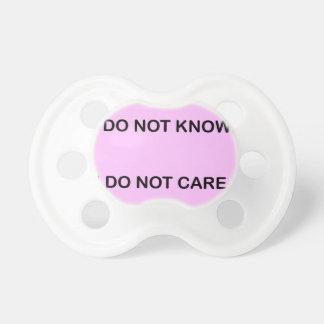 I DO NOT KNOW I DO NOT CARE TÉTINE