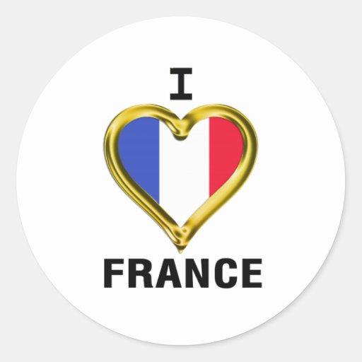 I drapeau France de coeur Adhésif Rond