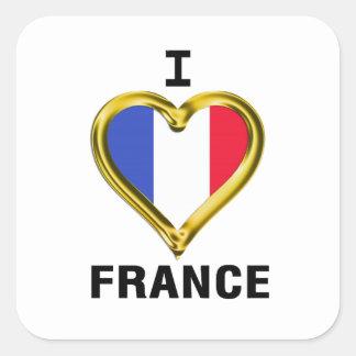 I drapeau France de coeur Autocollants Carrés