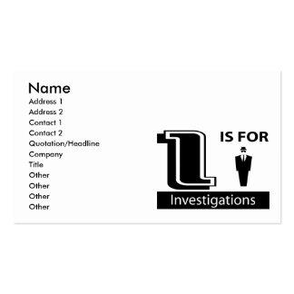 I est pour des investigations carte de visite standard