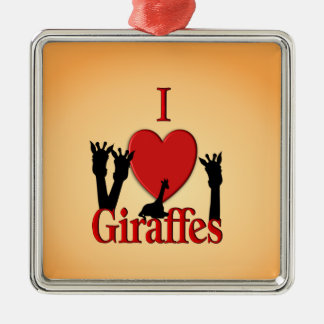 I girafes de coeur ornement carré argenté