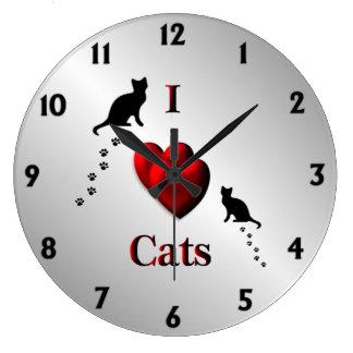 I horloge murale de chats de coeur