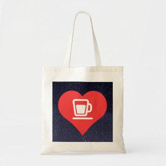 I icône de thé de coeur sac en toile budget
