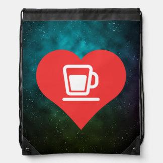 I icône de thé de coeur sac avec cordons