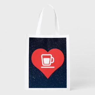 I icône de thé de coeur sac réutilisable d'épcierie