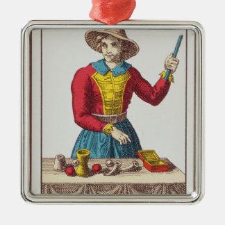 I le magicien, sept cartes de tarot ornement carré argenté