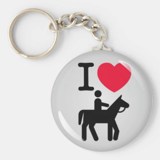 I love horseriding porte-clé rond
