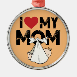 I Love My Mom Ornement Rond Argenté