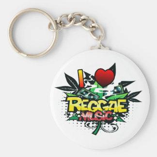 I musique de reggae de coeur porte-clé rond