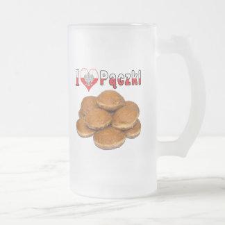 I nourriture polonaise de Paczki de coeur Frosted Glass Beer Mug