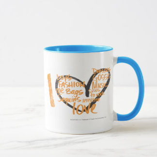 I orange de graffiti de coeur mug