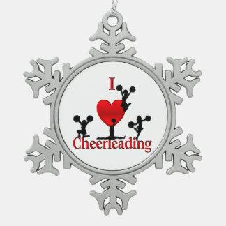 I ornement Cheerleading de flocon de neige d'étain