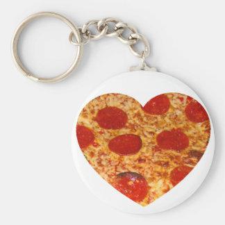 I pizza de coeur porte-clé rond