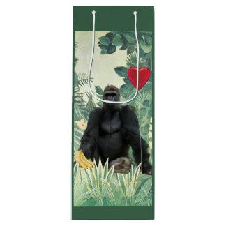 I sac de cadeau de vin de gorilles de coeur