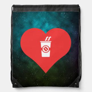 I vecteur chaud de boissons de coeur sac à dos
