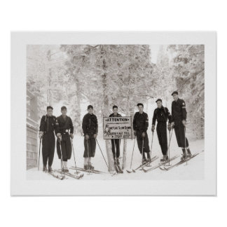 Iamge vintage de ski, photo de groupe posters