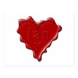 Ian. Joint rouge de cire de coeur avec Ian nommé Cartes Postales