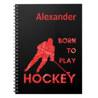 Ice hockey notebook Born to play red journal