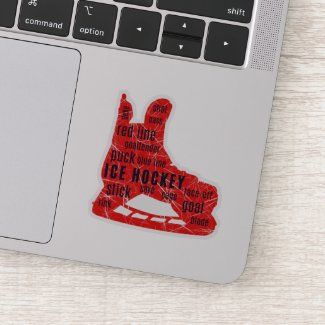 Ice hockey sticker - red skates with words