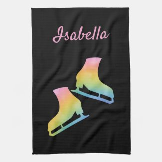 Ice skate towel figure skates Black rainbow pink