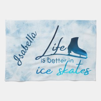 Ice Skate Towel gradient blue skate life better