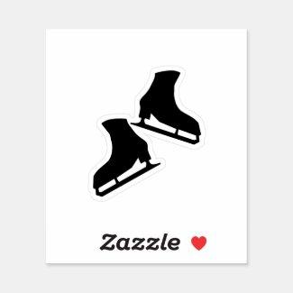 Ice skating stickers (figure skates in black)