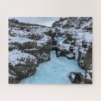 Iceland Jigsaw Puzzle - Barnafoss waterfall