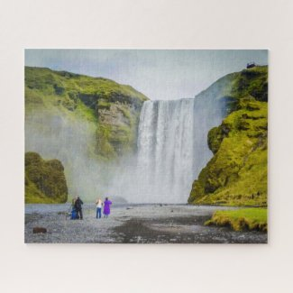 Iceland Jigsaw Puzzle - Skogafoss waterfall