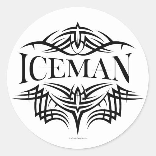 Iceman tribal d'hockey (simple) adhésif rond