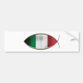Ichthus - drapeau italien autocollant de voiture