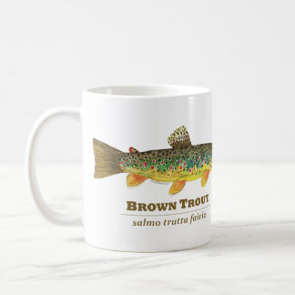 Ichtyologie de latin de truite de Brown Mug Blanc