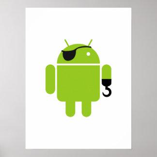 Icône androïde de robot en tant que pirate posters