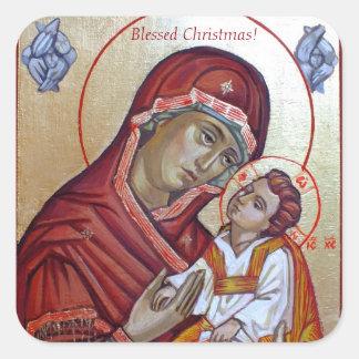 Icône bizantine de style de Mary de saint Sticker Carré