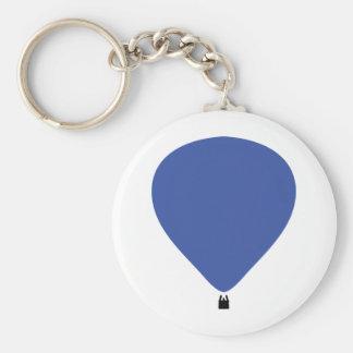 icône bleue de montgolfière porte-clé rond