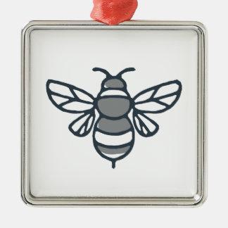 Icône d'abeille de bourdon ornement carré argenté