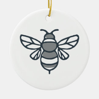 Icône d'abeille de bourdon ornement rond en céramique