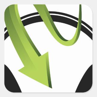 Icône de flèche d'écouteurs sticker carré