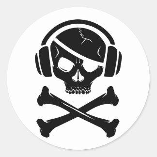 Icône de la piraterie anti-RIAA de pirate de Sticker Rond