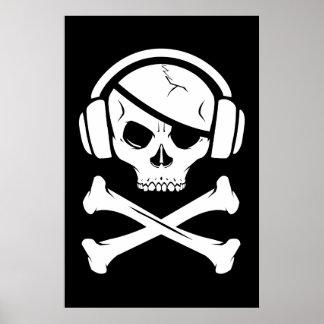 Icône de la piraterie anti-RIAA de pirate de musiq Poster