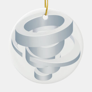 Icône de la tornade 3d d'ouragan de cyclone de ornement rond en céramique