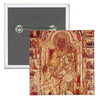 Icône de la Vierge et de l'enfant, c.1300 Badge Carré 5 Cm