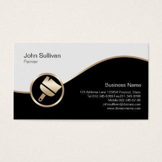 Icône de pinceau d'or de carte de visite de