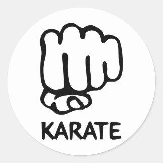 icône de poing de karaté sticker rond