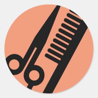 Icône de salon pour des coiffeurs sticker rond